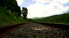 Timelapse Rail Road Tracks Slide Right Stock Footage