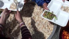 Serving Turkish rice pilaf Stock Footage