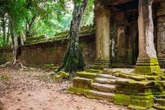 Ruins of Pra Khan Temple in Angkor Thom of Cambodia - stock photo