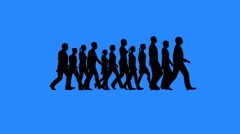 People walking silhouettes Stock Footage