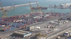 ULTRA HD 4K Aerial view industrial port container bay cargo ship Barcelona icon Stock Footage