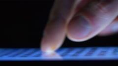The hand (finger) work with phone touchscreen. Close up macro view Stock Footage