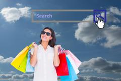 Stock Illustration of Composite image of pretty brunette with shopping bags