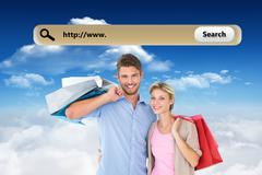Composite image of attractive young couple holding shopping bags Stock Illustration