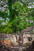 Ruins of Pra Khan Temple in Angkor Thom of Cambodia - stock photo