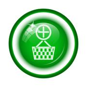 Stock Illustration of Add to basket icon. Internet button on white background..