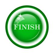 Finish icon. Internet button on white background.. - stock illustration