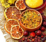 Calendula flower, oats, immortelle flower, tansy herb, honey, wild rose, drie Stock Photos