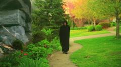 Hooded figure medieval Stock Footage