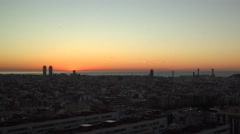 ULTRA HD 4K Aerial view Barcelona cityscape sunrise panorama city romantic place Stock Footage