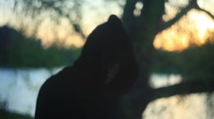 Mysterious hooded figure 2 Stock Footage
