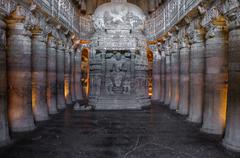Ajanta caves in India Stock Photos
