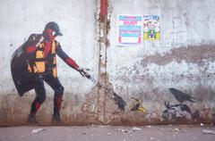 Graffiti art in Mumbai slum Stock Photos