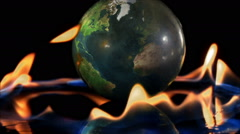 global warming climate change earth day flames hot fire world universe war heat - stock footage