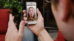 Video Chat with a Smartphone Outside Stock Footage