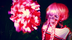 Skeleton b movie horror cheerleader Stock Footage