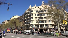 ULTRA HD 4K Timelapse Casa Mila La Pedrera traffic car Barcelona landmark iconic Stock Footage