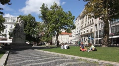 People visiting the Voeroesmarty Square in Budapest Stock Footage