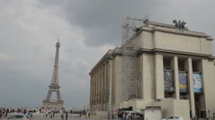 The Museum of mankind in the background of the Eiffel tower in Paris. - stock footage