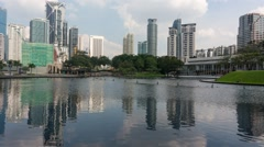 Timelapse At Symphony Lake In Klcc, Kuala Lumpur During Daylight Stock Footage