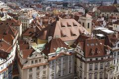 Prague city scape of roofs - stock photo