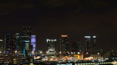 Miami skyline at night - stock footage