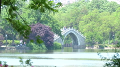 Bridge in Lord Bao´s Park, Hefei Stock Footage