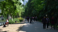 People in Lord Bao´s Park, Hefei, China Stock Footage