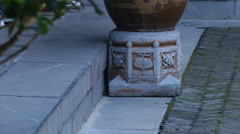 Planters in courtyard of Former Residence of Li Hongzhang, Hefei, China Stock Footage