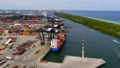 Aerial View of Port Everglades, Fort Lauderdale, Florida Stock Footage