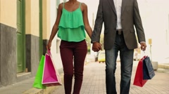 African American Couple Shopping With Bags In Panama City - stock footage