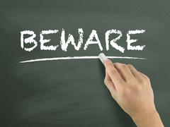 beware word written by hand - stock illustration