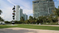 Pan Shot of Miami Office Park - stock footage