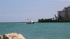 Fishing Boat Motors into Biscayne Bay Stock Footage