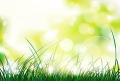 green grass over blur abstract - stock illustration