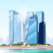 City Skyscraper View Cityscape Skyline Vector - stock illustration