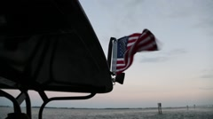 American Flag on US Customs Patrol Boat Blowing in Breeze  Stock Footage
