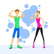Sport Couple Man and Woman Show Bicep Muscles, Athletic - stock illustration