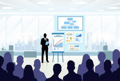 Business People Group Silhouettes at Conference Meeting - stock illustration