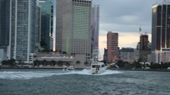 Boats Motoring into Biscayne Bay, Miami - stock footage