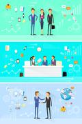 business people group working set, handshake meeting - stock illustration