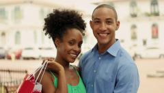 Portrait African American Couple Shopping In Panama City Smiling Stock Footage