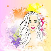 beautiful woman face colorful ink paint splash, young sketch girl - stock illustration
