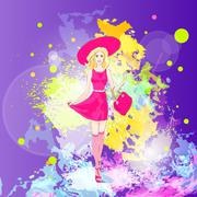 Fashion woman in pink dress, hat and stocking over colorful pain splash Stock Illustration