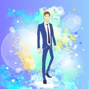 Fashion man over colorful pain splash background, male model wear blue suit - stock illustration