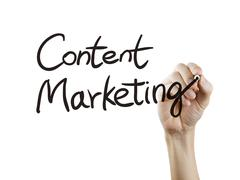 Content marketing written by hand Stock Photos