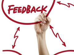 Feedback word written by hand Stock Photos