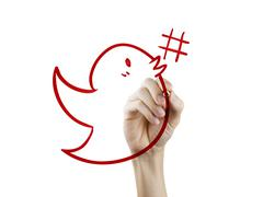 Bird with hashtag symbol drawn by hand Stock Photos