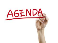 Agenda word written by hand Stock Photos