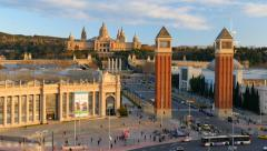 View of Placa De Espanya. Barcelona, Spain Stock Footage